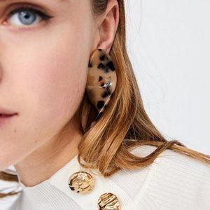 NWOT Zara Spiral Acrylic Tortoiseshell Earrings